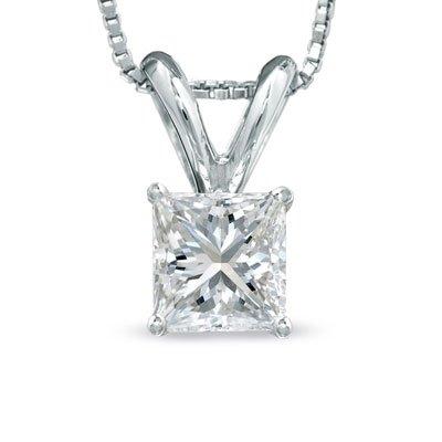 0.66 Ct Princess Cut Basket Diamond Pendant Necklace 14K White Gold