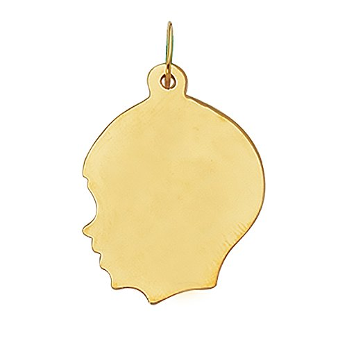 Boy Head Silhouette Charm - 14K Real Yellow Gold Boy Head Face Charm Kids Silhouette Large