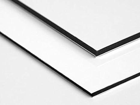 Blanc Signal/étique.biz/® Diff/érentes Tailles Disponible Plaque Aluminium Dibond Mati/ères Premi/ère 10 x 10 cm /Épaisseur 2 mm