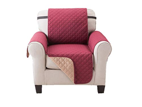 (Deluxe Reversible Chair Slipcover Recliner Furniture Protector, Seat Sofa, Loveseat, Couch Quilted, Anti-Slip 2 Inch Strap, Machine Washable, Slip Cover Throw for Pets Dogs Cats, Kids - Burgundy/Taupe)