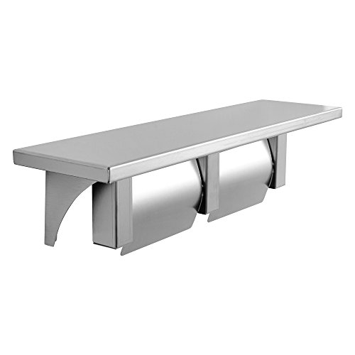 Dependable Direct Double Roll Toilet Paper Holder and Shelf - Stainless Steel - Satin Finish - Hooded
