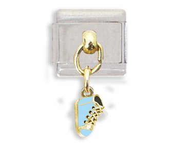 (Blue Baby Shoe Dangle Italian Charm Bracelet Link)