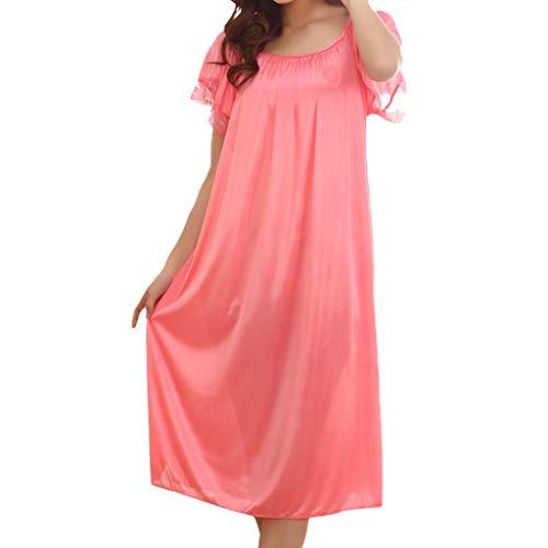 Women Sleepwear Sexy Lingerie Loungewear Nightgown Short Skirt Ice Silk Lace Pajama Dress Watermelon Red