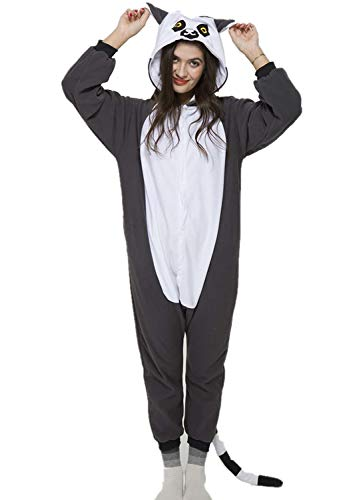 Unisex Adult Ring-Tailed Lemur Pyjamas Halloween Costume One Piece Animal Cosplay Onesie -