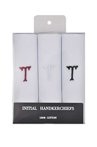 T&Z 3 Pack Men's Cotton Initial Monogrammed Handkerchief Gift Set (T)
