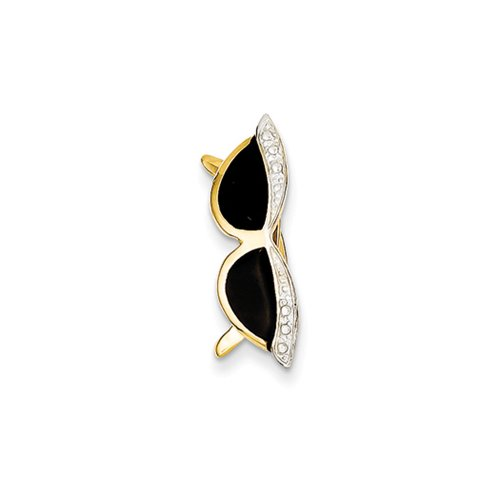 14k Yellow Gold, White Rhodium & Black Enamel 3D Sunglasses (14k Enamel Slide)