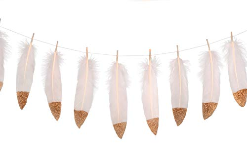 (LOVENJOY 15pcs Feather Decoration Garlands Gold Glitter Dipped for Room Teepee Decor, Wedding Nursery Baby Shower)