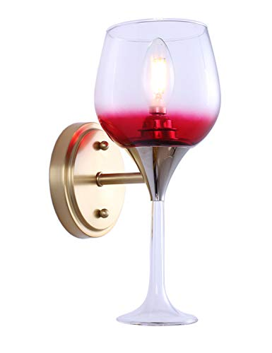 Doraimi 1 Light Wine Glass Wall Sconce (Patented Product) for Dining Room Bar Cafe Passway Hallway etc (1 Light Antique Brass)