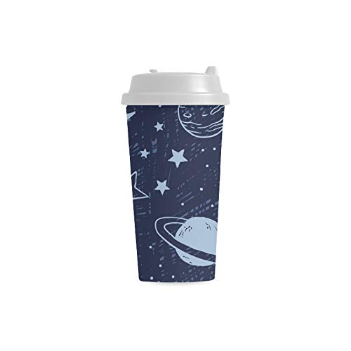 Moon Shiny Night Light Custom 16 Oz Double Wall Plastic Insulated Sports Water Bottle Cups Commuter Travel Coffee Mugs For Student Women Milk Teacup Drink