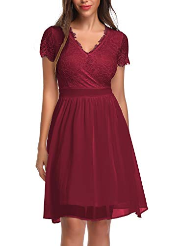 OTEN Women Floral Lace Cross V Neck Pleated Sewing Skater Dress for Party Wine Red