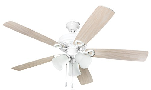 Hyperikon Indoor Ceiling Fan with Lights, 52-Inch White Ceiling Fan, Five Reversible Blades, Three Lights with Pull Chain - Bulb Not Included