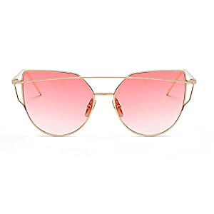 Homesuns Sunglasses Women Luxury Cat eye Brand Design Mirror Flat Rose Gold Vintage Cateye Fashion sun glasses lady Eyewear,I