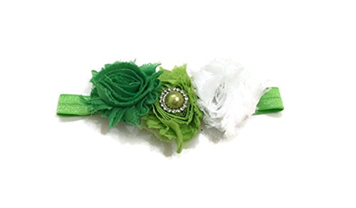 [Rush Dance St Patrick's Day Stretch Baby Headband Lime White & Green] (St Patricks Day Dance Costumes)