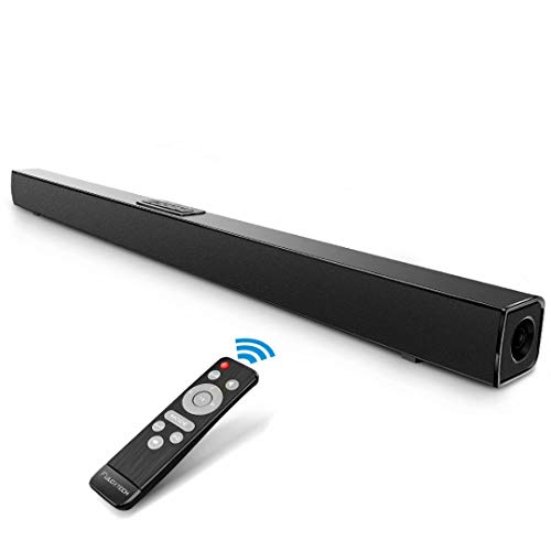 TV Sound Bar, FULOXTECH Soundbar for TV, 36.5-Inch 2.0 Channel Wireless & Wired Bluetooth Sound Bars, Home Theater Surround Speakers with IR Remote Control Black