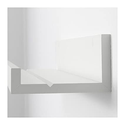 Modern white floating ledge for photos pictures and frames 21 75 inch long