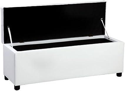 Ottomana corium 119 x 38 x 45 cm Seduta comoda Panca imbottita Sgabello Panca letto Cassapanca Panchina bianco