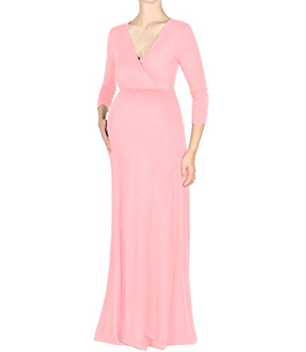 Beachcoco Maternity Women's V-Neck 3/4 Sleeve Nursing Maxi Dress (M, Blush Pink) (Blush Womens)