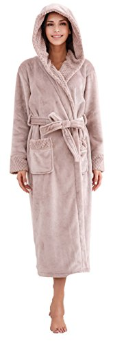 Richie House Women's Soft and Warm Robe Bathrobe with Hood RHW2823-B-S Mauve