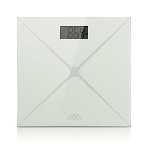 Adoric Digital Body Weight Bathroom Scale with Large LCD Display, Tempered Glass, Auto On/Off, Easy to Read and Accurate - Off Scratches Get Glasses