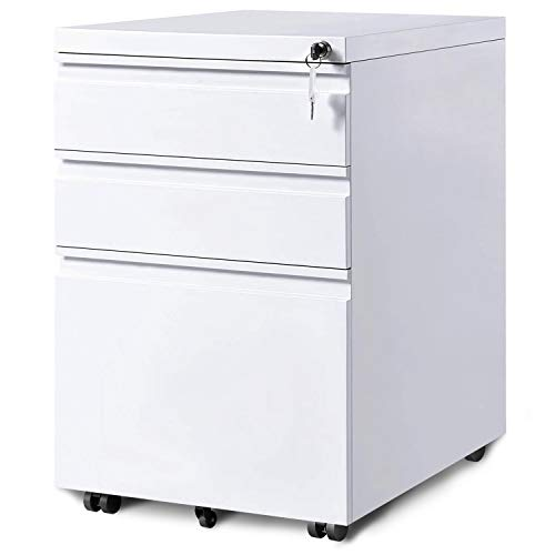 - Merax 3-Drawer Mobile File Cabinet with Keys, Fully Assembled Except Casters (White)