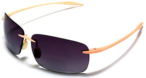 Samba Shades Maui Sports Navigator Bi-Focal Sun Readers Sunglasses Ultra Flex TR90 Pink +1.00