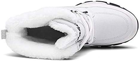 Botas de Nieve cálidas para Mujer Invierno de algodón Grueso algodón Salvaje Alta Ayuda Botas de Mujer Ropa de Abrigo Antideslizante Gruesa-Gris_6.5