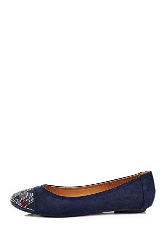 Eddie Marc Extreme Mujeres 5405 Patrón Regular De Diamantes De Imitación Slip On Chunky Heel Loafer Zapatos Blue