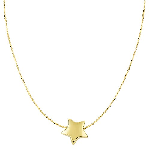 (14k Yellow Gold Sliding Puffed Star Pendant Necklace, 18