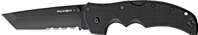 Cold Steel Recon 1 Tactical Knife with G-10 Handle Tanto Point with Black Blade, ComboEdge