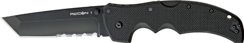 Cold Steel Recon 1 Tactical Knife with G-10 Handle Tanto Point with Black Blade, ()