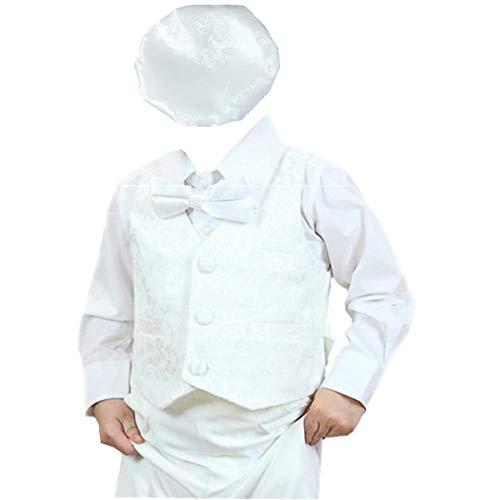 - BBVESTIDO Cotton Boys' 5 Pcs Baptism Christening Outfit Suit Infant Size 0-24m (S (0-6M)) White