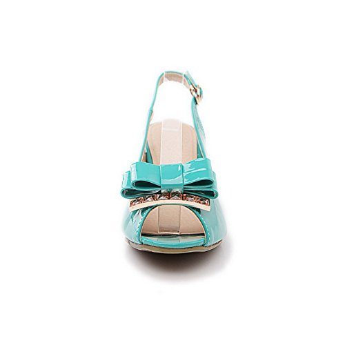 Leather M Peep 1TO9 Patent US Toe Sandals Blue Gold Spun 4 Bowknot Womens B T8n8pwBaf