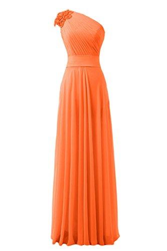 sunvary hecha a mano flores Empire de la cintura One-Shoulder gasa fiesta fiesta de vestido de fiesta naranja