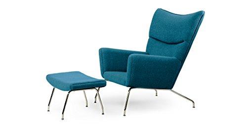 Kardiel Hans J Wegner Style Wing Chair & Ottoman, Caribbean Boucle Danish Wool (Wing Style Wegner Chair)
