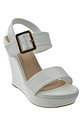TOP Moda Closet 17 Womens Strappy Open Toe Platform Wedge White