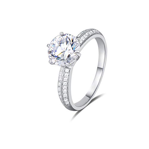 Agvana Wedding Engagement Promise Ring Rhodium Plated 925 Sterling Silver Solitaire Round Brilliant Cut Cubic Zirconia CZ Six Prongs Design Jewelry for Wife Lover Girlfriend Her, Size 6 7 8 (5)
