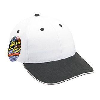 OTTO Flex Cotton Twill Sandwich Visor 6 Panel Low Profile Baseball Cap - Blk/Wht/Wht