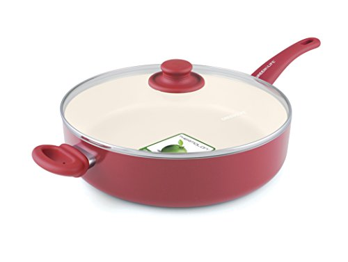 GreenLife Soft Grip Ceramic Non-Stick 5qt Jumbo Sautepan with Helper Handle, Burgundy