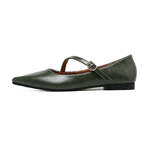 Giy Kvinna Retro Spetsig Tå Loafers Flat Ballet Komfort Slip-on Spänne Klassisk Klänning Dagdrivaren Skor Mörkgrön