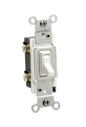 Aluminum 3 Way - Leviton 2653-2W 15 Amp, 120 Volt, Toggle Co/Alr 3-Way AC Quiet Switch, Residential Grade, Grounding, White