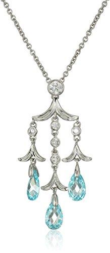 Nicole Miller Briolette Chandelier Rhodium/Blue Pendant Necklace, 16