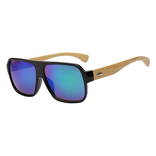 JapanX Bamboo Sunglasses & Wood Wooden Sunglasses for Men Women, Polarized Lenses with Gift Box – Wooden Vintage Wayfarer Sunglasses - Bamboo Wood Wooden Frame – New Style Sunglasses (Green - And Austin Mirror Fashion Glass