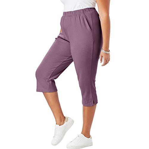 Roamans Women's Plus Size Soft Knit Capri Pant - Eggplant, 3X