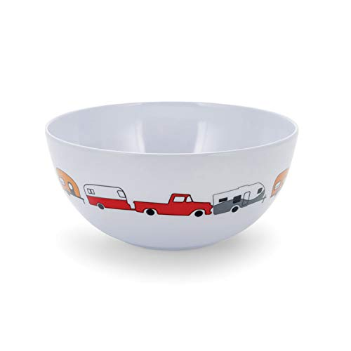 Camco Life is Better at The Campsite Bowl-  White with Multicolor Retro RV, Trailer and Camper Print , Great for Cereal, Fruit and Desert  BPA Free, Melamine(53222)
