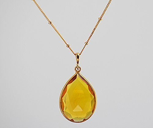 Large Pear Shape Citrine Quartz Necklace, Large Yellow Citrine Pendant Necklace, November Birthstone Necklace, 18x25mm Teardrop Pendant (Pear Citrine Pendant)