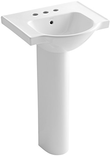 KOHLER K-5265-4-0 Veer Pedestal Bathroom Sink with 4-Inch Centerset Faucet Holes, 21-Inch, White