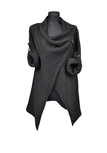 Meixin Women Irregular Button Cotton Blend Cardigan Sweater Black Large (Twin Cotton Cashmere Set)
