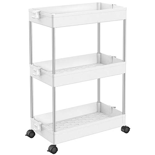 SPACEKEEPER Slim Storage Cart, 3 Tier Bathroom Organizers Rolling Utility Cart Slide Out Storage Shelves Mobile Shelving…