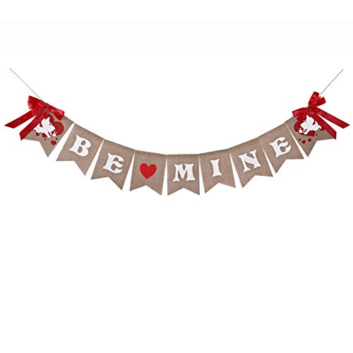 Be Mine Banners Valentines Burlap Banner for Valentines Day Engagement Wedding Decorations -