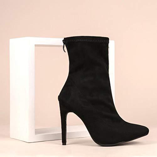 Boots Stiefel Wildleder Herbst Mädchen Sexy Thin Schuhe Party OYSOHE Heels Damen Schwarz Zipper aHcAOWPRR